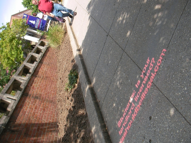 Sidewalk Chalk Advertisements at Howard